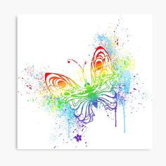 Butterfly Canvas, Rainbow Butterfly, Butterfly Painting, Butterfly Print, Rainbow Colors, Vibrant Colors, Pyrography Patterns, Canvas Prints, Art Prints