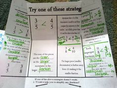 Comparing Fractions:  We focus a great deal on equipping students with strategies for doing this mentally.  They take part in an investigation where they 'discover' these mental strategies.  Though many students dislike the initially struggle, they realize that developing these mental strategies saves them time in the end.  If they just stop and THINK they can often discover which fraction is larger without ever even thinking about 'common denominators'.  P4