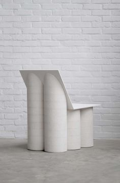 BOLDER CHAIR by destroyers / builders Architectural columns are the inspiration in the shapes of Bolder Chair. The layers of the chipboard discs refer to columns of stone. The diversity in white. Classic Furniture, Unique Furniture, Furniture Design, Furniture Dolly, Furniture Removal, Garden Furniture, Furniture Ideas, Architectural Columns, Shabby Chic Table And Chairs
