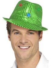 Flashing Sequin Gangster Hat - Green. A fun hat to wear at a Music Festival for a great effect. http://www.novelties-direct.co.uk/flashing-sequin-gangster-hat-green.html