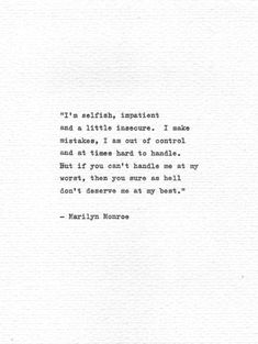 Marilyn Monroe Hand Typed Quote Letterpress Print Vintage Typewriter Inspirational Type Hand Typed Motivational Words American Beauty Icon : Marilyn Monroe Hand Typed Quote Letterpress Print Vintage Typewriter Inspirational Type Hand Typed M Motivacional Quotes, Typed Quotes, Handwritten Quotes, Nature Quotes, Poetry Quotes, Words Quotes, Life Quotes, Trust Quotes, Tattoo Quotes