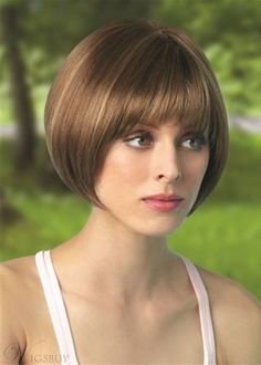 Shop our selection of short bob style wigs! Scorpio by Revlon Wigs boasts full fringe bangs with a rounded bob cut and features a cool, capless construction. Angled Bob Hairstyles, Short Bob Haircuts, Wig Hairstyles, Straight Hairstyles, Messy Blonde Bob, Bobs Blondes, Monofilament Wigs, Stylish Haircuts, Wedding Hair Inspiration