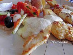 Bifes de Frango com Molho de Iogurte e Batatas Salteadas com Bacon