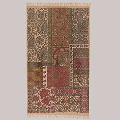 Pink/Green Patchwork Design Dhurrie Rug | World Market Cozy modern take on a traditional rug $49