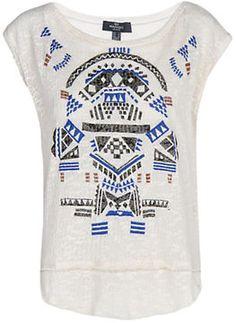 Mango Ethnic T-Shirt, Natural White