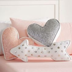 Nursery Accent Pillows - Project Nursery Sequin Shaped Pillows from PBteen - heart & arrow pillow Cute Pillows, Diy Pillows, Accent Pillows, Decorative Pillows, Pillow Ideas, Kilim Pillows, Sofa Cushions, Grey Cushions, Arrow Pillow