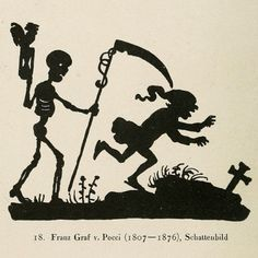 There are so many great seasonally spooky images in Die Totentänze (1922), including this silhouette of Death chasing a man by Franz Graf von Pocci, founding Director of the Munich Marionette Theatre, shadow puppeteer and author of countless puppet plays and children's stories.  #art #illustration #horror
