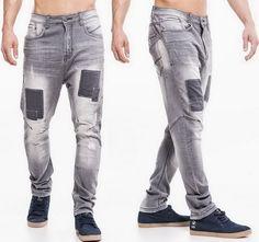 straight fit harem herren jeans grau skinny chino hose jeansnet onep. Black Bedroom Furniture Sets. Home Design Ideas