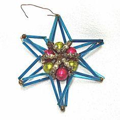 6 Point Dimensional Czech Beaded Star Christmas Ornament