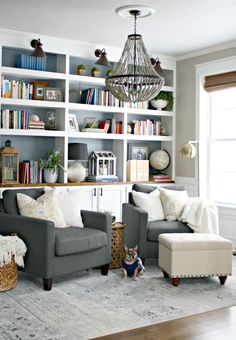 Bookcases with natural wood countertop and lighting