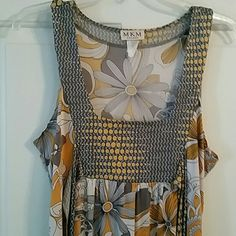 Long Tank Top Very cute! Grey, yellow, black and white. Ties in the back. Great Condition! Brand is MKM Designs Tops Tank Tops
