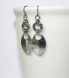 Steel Rose and Single Scale Chainmaille Earrings