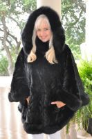"Shanice Black Mink Detachable Hood Section Cape With Fox Trim 36"""