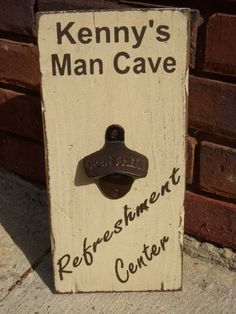 Personalized Man Cave Wood Sign with bottle opener
