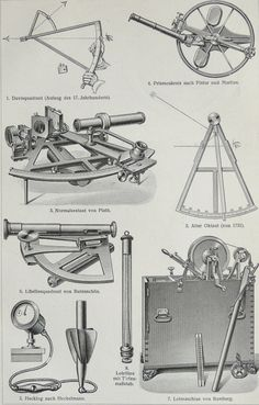 1905 Antique Engraving of Nautical Instruments - artist unknown Compass Navigation, China Map, Honfleur, Ex Machina, Le Havre, Vintage Tools, Tall Ships, Model Ships, Antique Prints