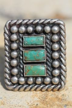 Vintage 1930 Navajo Sterling Silver & Turquoise Fred Harvey Era Ring
