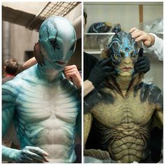 Left: Abraham Sapien from Guillermo del Toro's Hellboy Right: The Amphibian Man from Guillermo del Toro's The Shape of Water Special effects by Abe Sapien, Character Art, Character Design, The Shape Of Water, Movies And Series, Black Lagoon, Special Effects Makeup, Merfolk, Dark Horse