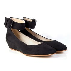 Bob vegan mid heel ankle strap wedge court shoe made from black faux suede with synthetic faux leather lining 100% Vegan, vegetarian and cruelty-free.