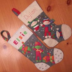 Handmade Felt Sock Monkey Stocking by BEAUXTAILS on Etsy, $40.00