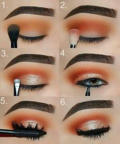 Makeup tutorial: orange and gold glam eye makeup step by step tutorial, perfect date night, girls night or prom look. Makeup tutorial: orange and gold glam eye makeup step by step tutorial, perfect date night, girls night or prom look. Gold Eye Makeup, Makeup Eye Looks, Eye Makeup Steps, Beautiful Eye Makeup, Cute Makeup, Smokey Eye Makeup, Eyeshadow Looks, Simple Makeup, Eyeshadow Makeup