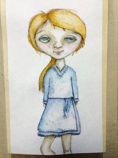 Anna mixed media girl watercolor art journal