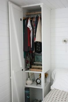 Cut out for night stand in the built in. Clever Built-ins to Make the Most of Small Bedrooms