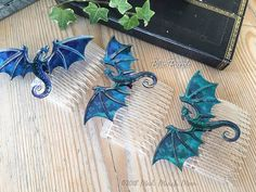 Dragon Hair Combs, Various Colours available, iridescent shimmering acrylic and acetate dragons, handmade hair accessory. Space Dragon, Cool Dragons, Dragon Jewelry, Handmade Hair Accessories, Hair Combs, Polymer Clay Art, Clay Crafts, Iridescent, Colours