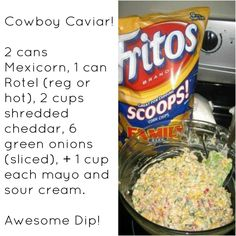 Cowboy Caviar My friend added taco seasoning to taste and used southwest corn it has black beans in it! Cowboy Caviar My friend added taco seasoning to taste and used southwest corn it has black beans in it! Appetizer Dips, Healthy Appetizers, Appetizers For Party, Appetizer Recipes, Snack Recipes, Cooking Recipes, Brunch Recipes, Yummy Recipes, Cowboy Corn Dip