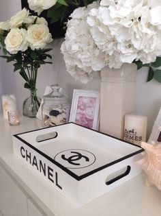 Made to order ~ Replica tray with Chanel branding. Bring a touch of luxury living to your home with this replica designer tray. x x Luxury Living: Made to order ~ Replica tray with Chanel branding…. Chanel Bedroom, Chanel Decor, Chanel Lamp, Decoration Chic, Chanel Party, Glam Room, Bedroom Decor Glam, Bedroom Lighting, Bedroom Ideas