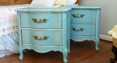 SOLD!!! FRENCH Provincial SHABBY chic vintage night stands / end tables painted furniture Annie Sloan Provence blue Two Whimsies on Etsy, $425.00