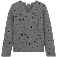 J.W.Anderson Perforated boiled wool sweater ($253) ❤ liked on Polyvore featuring tops, sweaters, anthracite, boiled wool sweater, j.w. anderson, grey top, gray top and gray sweater