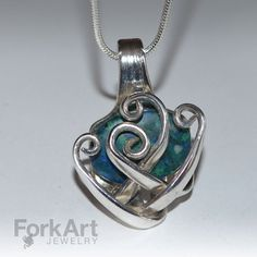 Freeform fork pendant with blue/green bead by ForkArtJewelry, $70.00