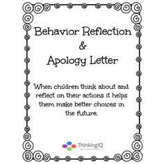Behavior Reflection Form Pinteres