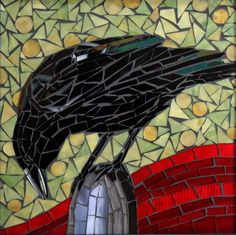 Perched Crow Glass Mosaic Art.