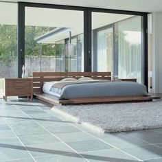 Classic Japanese bedroom in wooden design. Platform bed.