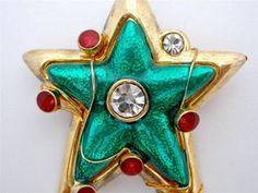 Vintage Christmas Star Enamel Brooch Guilloche Green Red Rhinestone Holiday Pin | eBay