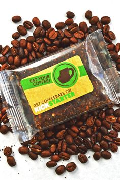 New Grounds Food created CoffeeBars - all natural, vegan, gluten free, soy free energy bars infused with espresso for 102mg of caffeine!
