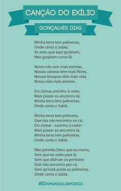 """Canção do Exílio – Gonçalves Dias """"Onde canta o sabiá"""" Art Quotes, Inspirational Quotes, Goncalves, News Sites, Studyblr, Note To Self, Philosophy, Texts, Literature"""