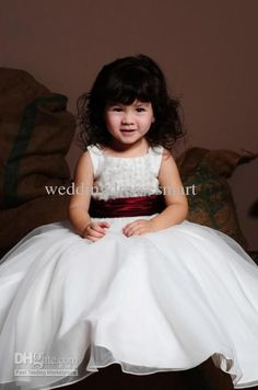 Ruffles Bodice Princess Ball Gown Flower Girl Dresses White And Wine Red Sash Hot Bridal Party Gown