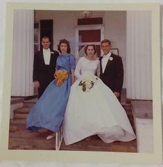 Vintage Old 1962 Photo of Beautiful Wedding & Bridesmaid Huge Dress Bride Groom   eBay