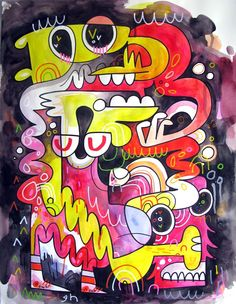 Jon Burgerman. His style is wacked - colourful, painted, sprayed, marked - all over the show. And then he churns his uber stylistic pieces out like a champ. You should see some of his exhibitions and shows - just watch some of his videos - go through all his work and check out his blog. How could this guy not be on this board?