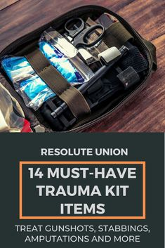 A properly-stocked trauma kit allows for the treatment massive bleeding. Gunshot wounds, stabbings, traumatic amputations and other life-threatening trauma can all be addressed using the items on this list.