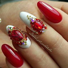 # Red & White Nails