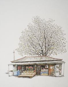 Exhibition poster memory share by Lee Me-Kyeoung 기억의 공유展, 이미경 Building Painting, Building Art, Korean Art, Asian Art, Painting Lessons, Painting & Drawing, Watercolor Illustration, Watercolor Art, Building Sketch
