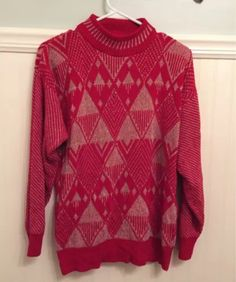 Red Sweaters, Ugly Christmas Sweater, Vintage Outfits, Turtle Neck, Clothes For Women, Knitting, Knits, Women's Clothing, Metallic