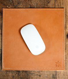Bexar Goods Co. Leather Mouse Pad. I could easily make this... just need a custom leather stamp!