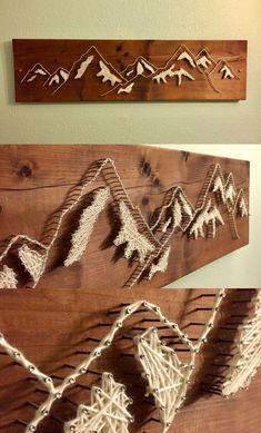 - Baby Geschenke Fadenbild stuff diyFadenbild - Baby Geschenke Fadenbild stuff diy shop: World Map Mountain String Art-Wall Art Mountain Range String Art. Wood Crafts, Fun Crafts, Diy And Crafts, Arts And Crafts, String Art Diy, String Crafts, Diy Art, Wood Art, Diy Gifts