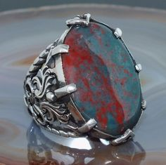 Silver Mens Ring Bloodstone Sterling 925 unique handcrafted Jewelry #KaraJewels #Handmade