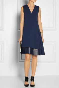 Reed Krakoff|Leather-trimmed wool-blend dress|NET-A-PORTER.COM
