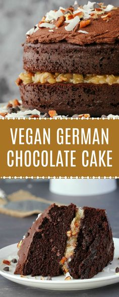 Moist and rich vegan German chocolate cake with a coconut pecan filling and a chocolate buttercream frosting. Mega-chocolatey and ultimately delicious! Vegan Treats, Vegan Foods, Vegan Snacks, Vegan Dessert Recipes, Cake Recipes, Vegan Baking Recipes, Dessert Food, Cooking Recipes, Food Cakes